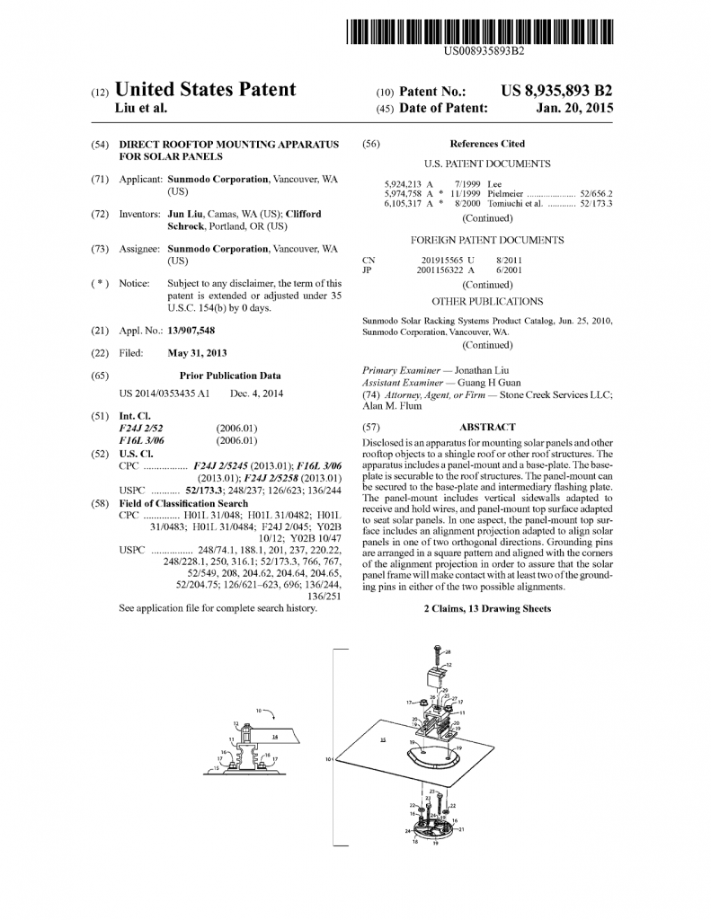 Solar roof mount U.S. Patent No. 8,935,893
