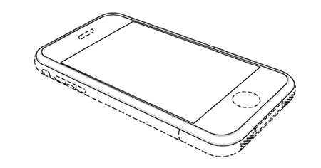 apple iphone design patent drawing in perspective view