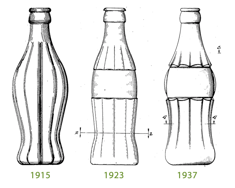 Coca Cola design patents from 1915, 1923, and 1937