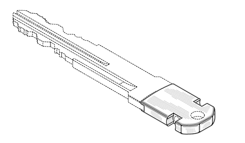 design patent drawing of a key with functional elements disclaimed