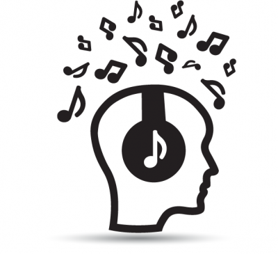 Iconic representation of an audio patent that includes a head with musical notes surrounding
