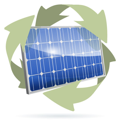 Solar Panel with green recycle arrows representing clean tech patents